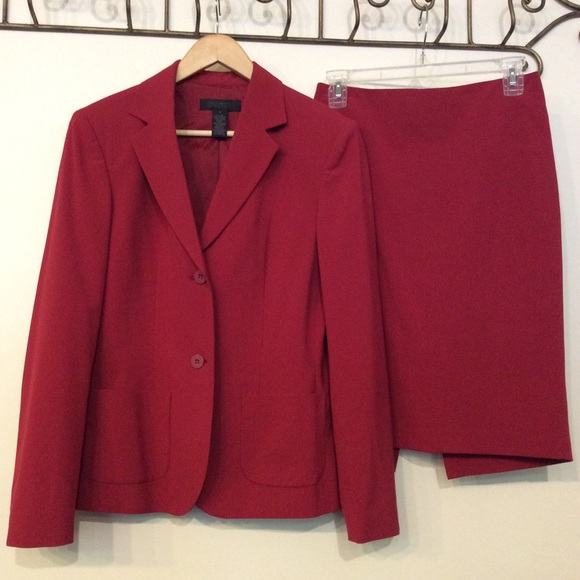 The Limited Other - The Limited Stretch Red Blazer & Pencil Skirt Set